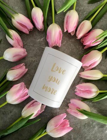 Love You More Hand Poured Scented Candle – Brush lettering