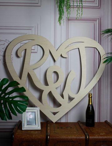 R&J Wooden Wedding Heart