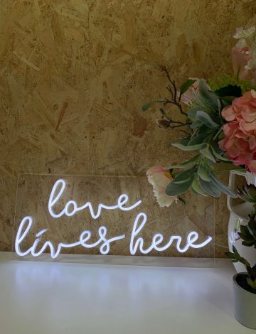 Mini Love Lives Here LED Neon Sign