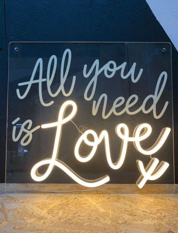 Mini All You Need is Love LED Neon Sign with UV print