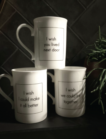 Set of three, 'I Wish' Slogan Mugs
